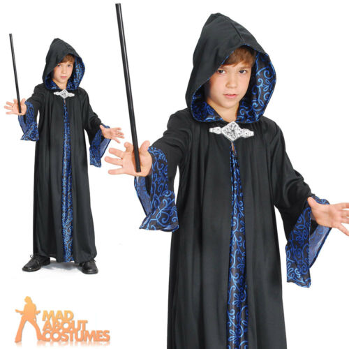 Child Harry Wizard Robe Costume Boys Girls Magician Cape Kids Fancy Dress Outfit