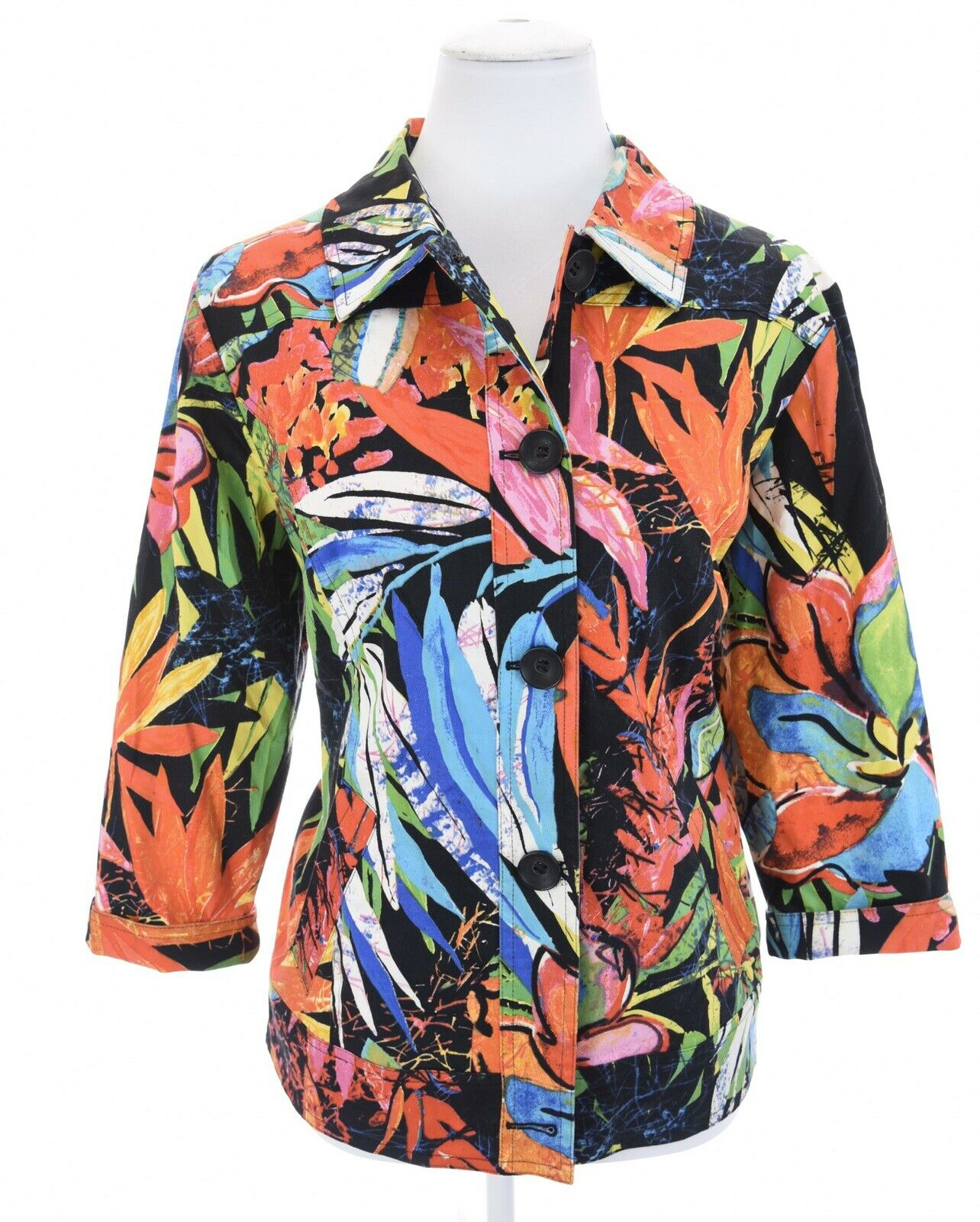 Chico's 2 Sz Large Colorful Floral Tropical Blazer Jacket Hawaiian Spring Womens