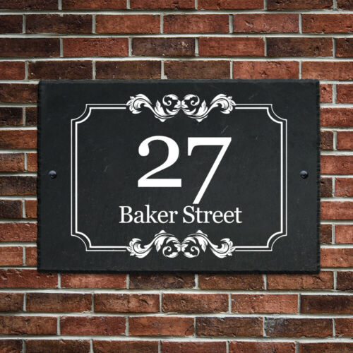 Personalised House Number Plaque UV Printed Slate Door Number House Gate Sign