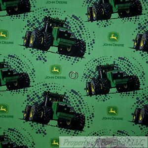 Details About Boneful Fabric Cotton Quilt Green Black Yellow John Deere Tractor Logo Dot Scrap