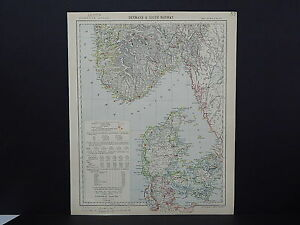 Antique Map, Lett's, 1883 S2#12 Denmark and South Norway
