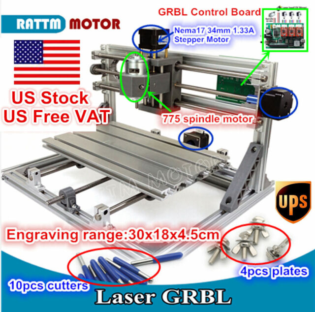 in usa) 3 axis diy mini 3018 grbl control cnc laser machine millingdiy mini 3 axis 3018 cnc router milling wood carving engraver laser machine [us]