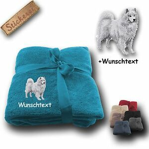 Couverture-Moelleuse-Chien-Samoyede-Texte-personnalisable-Broderie-180x130cm