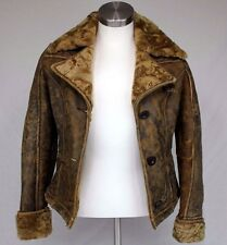 UGG ALPINE BOMBER SHEEPSKIN AND LAMBS FUR JACKET BROWN SIZE SMALL WOMENS NEW