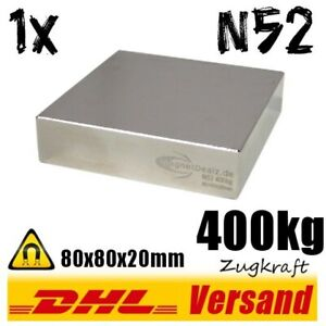Neodym-Magnet-80x80x20mm-8x8x2cm-400kg-N52-starker-super-Dauermagnet-Blockmagnet