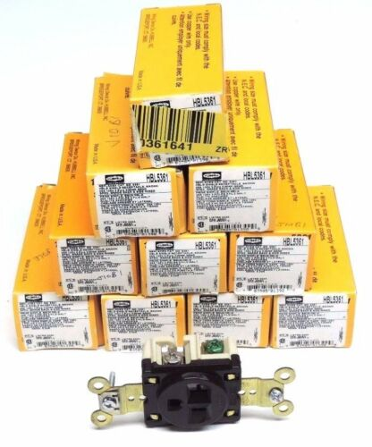 2-Pôle 3 wire Lot de 10 new in box HBL5361 Hubbell Single Réceptacle BRN 125 V 20 A