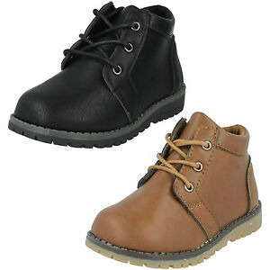 BOYS JCDEES ROUND TOE LACE UP SMART CASUAL ANKLE BOOTS N2042