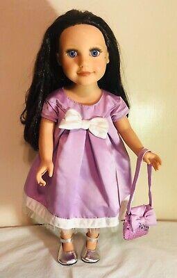 "Beige 3pc Dress Set with Pink  Rosebud Design Fits 18/"" American Girl  Dolls"