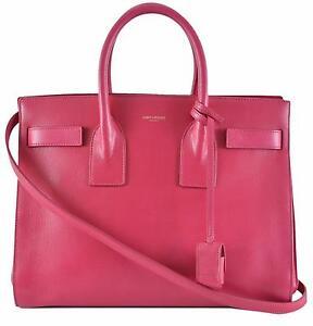 New-Yves-Saint-Laurent-YSL-Pink-Leather-Sac-de-Jour-Small-Handbag-Purse-W-Strap