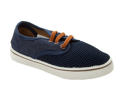 great deals lowest discount online retailer BOYS NAVY BLUE CANVAS LACE SLIP ON PLIMSOLL PUMPS SHOES KIDS ...