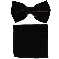 New in box formal men's pre tied Bow tie & Pocket Square Hankie Velvet Black