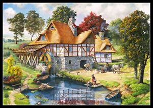 Cottage with Swans Chart Counted Cross Stitch Patterns Needlework DIY DMC
