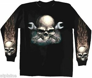 T-Shirt-ML-WRENCHES-SKULL-Taille-L-Style-BIKER-HARLEY