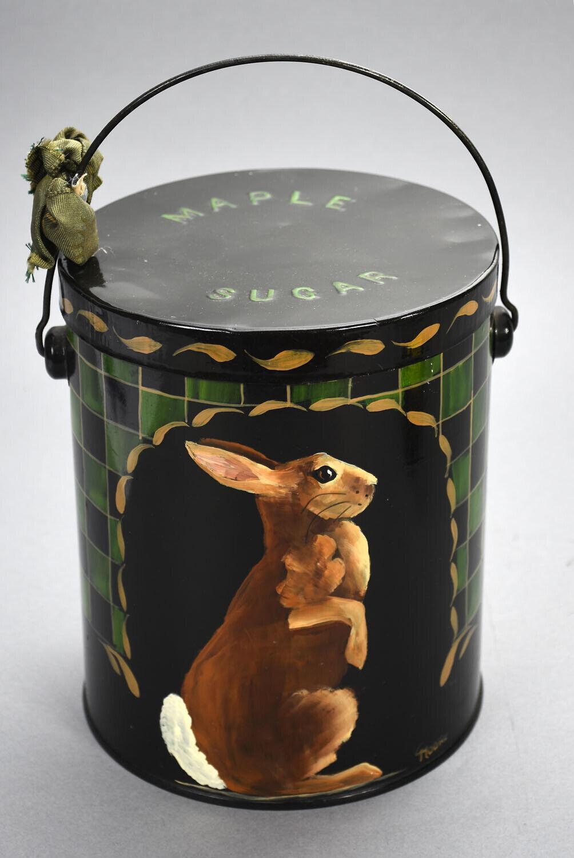 Vintage Tole Metal Maple Sugar Pail w  Hand Painted Folk Art Rabbit Motif