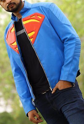 Blue Superman Famous Halloween Costume Smallville Faux Leather Jacket Best Price