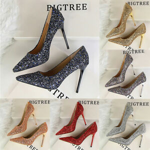 Fashion-Women-Pointed-Toe-Pumps-Stiletto-High-Heel-Bling-Sequins-Nightclub-Shoes
