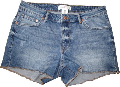 Ex H/&M Womens Denim Short Shorts Hot Pants Slight Distressed Cut Off Raw Edge