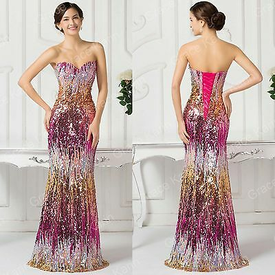 Women BLING SEQUINS Mermaid Long Evening Formal Ball Gown Prom Bridesmaid Dress