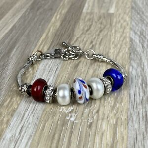 Silver-Red-White-Blue-Beaded-Charm-Bracelet-America-4th-of-July