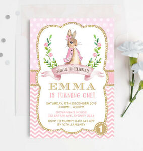 Pink And Gold Peter Rabbit 1st First Birthday Invitation Girls Party