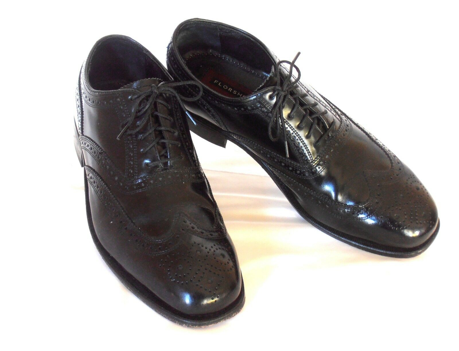 FLORSHEIM Size 8.5 Black Leather Full Brogue Wingtip Leather Soled Dress Oxfords