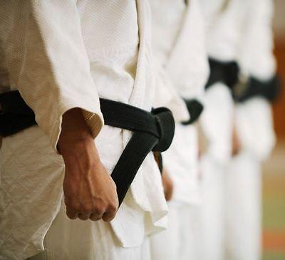 """2/"""" Black Master Belts Double Wrap Sizing for Taekwondo//Karate//Judo//Kendo//Hapkido"""