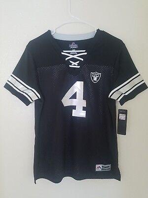 low priced 8918f f4797 New Women's Majestic NFL Oakland Raiders #4 Derek Carr V-Neck Jersey Shirt  NWT | eBay