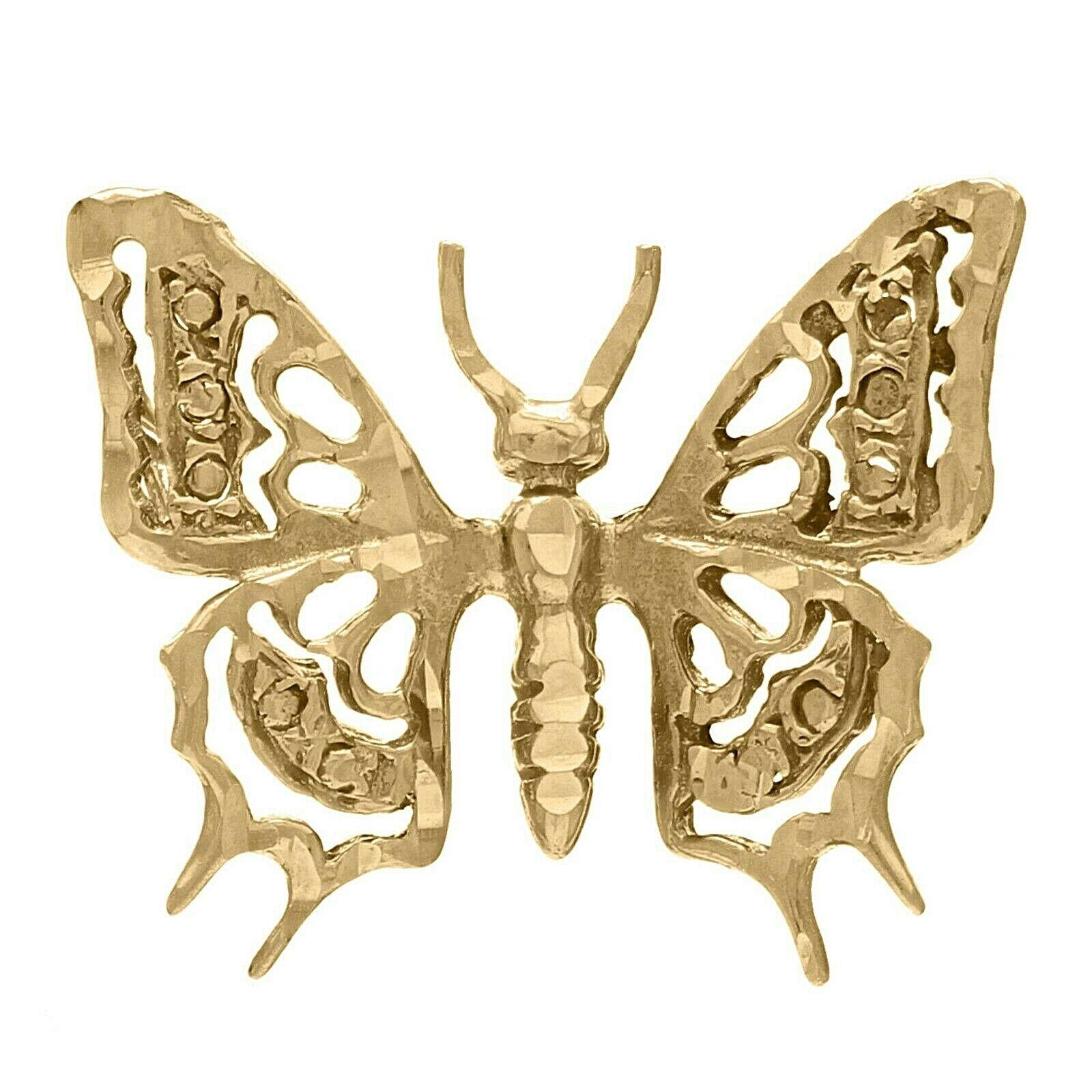 14K Yellow gold Diamond Cut Butterfly Charm Pendant 2 grams