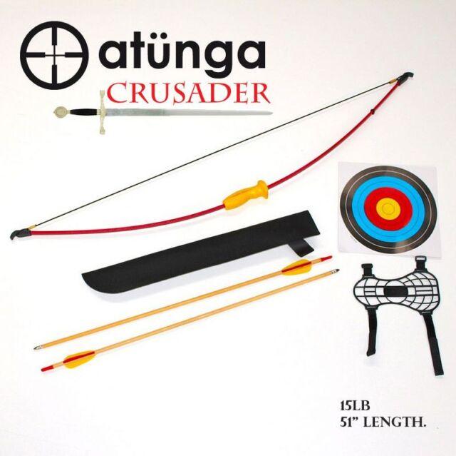 NEW Kids CRUSADER 15lb LRG Longbow Archery Set Target Atunga Bow sport medieval