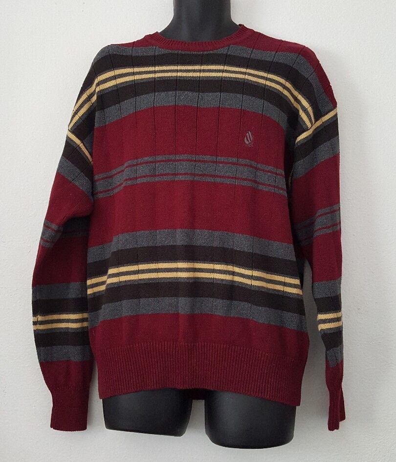 Vintage Nautica Striped Crew Sweater Burgandy Large Sailing