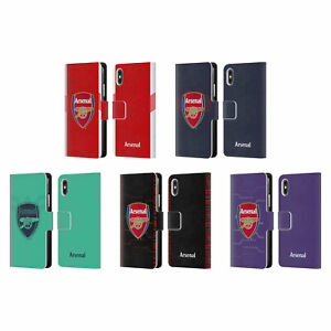 OFFICIAL-ARSENAL-FC-2018-19-CREST-KIT-LEATHER-BOOK-CASE-FOR-APPLE-iPHONE-PHONES