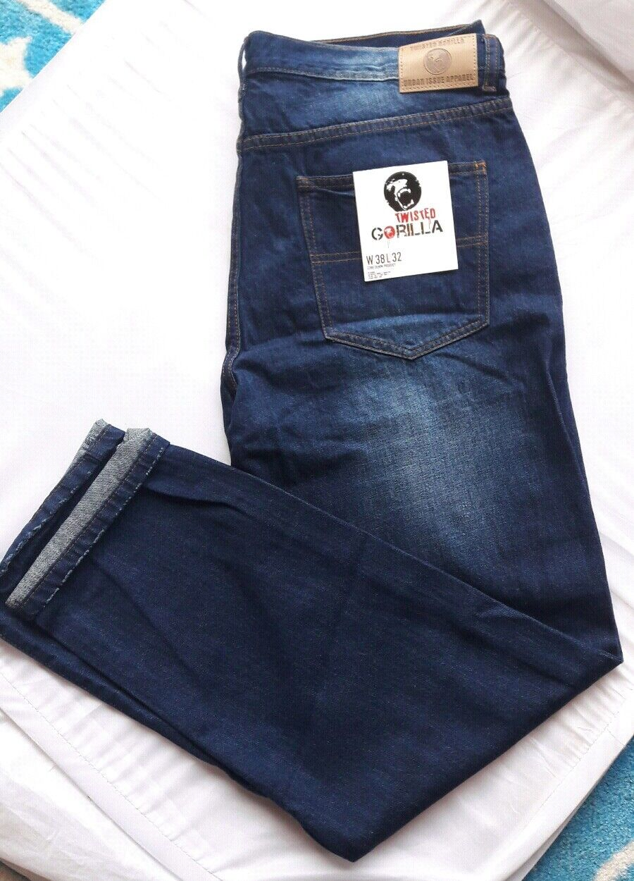Mens Twisted Gorilla Premium Denim Jeans Straight Colour Indigo Waist 38R  NEW    Attraktive Mode