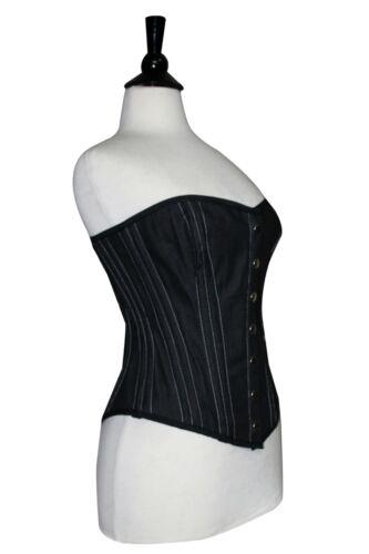 Back Bones Jeans ~ Nero Laceup Denim 7xl 2xs Acciaio Bottoni Anteriore Full Corsetto Busto 50X07x6