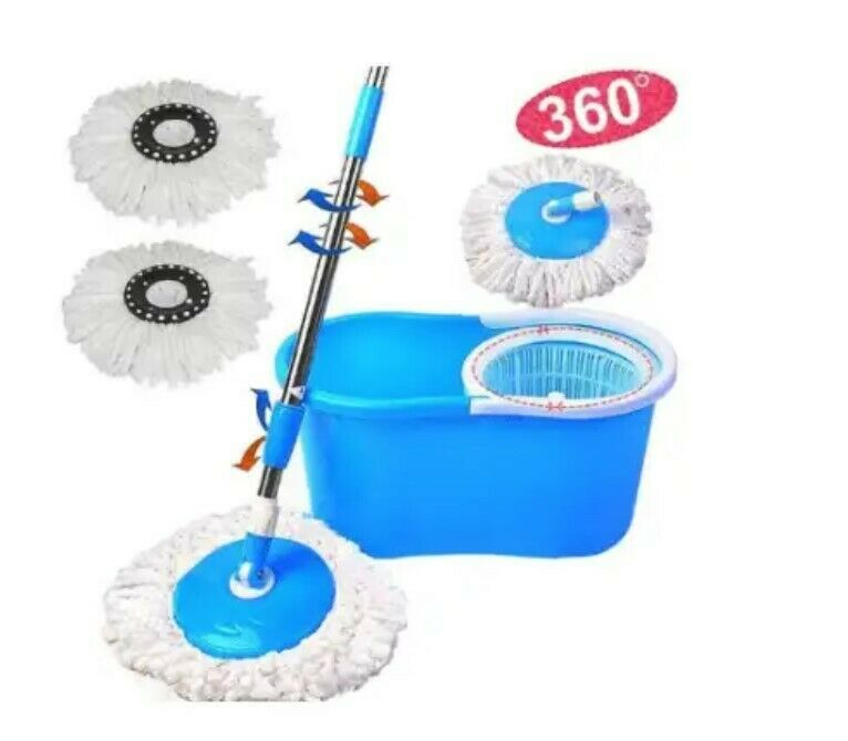 Brand New Spin Mops: 360 degrees Microfibre , 2 Mop heads, Stainless Steel Basket