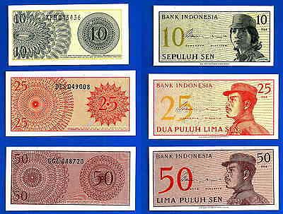 Indonesia Lot 10 Sen 25 Sen 50 Sen 1964 UNC Volunteer Free Shipping Worldwide