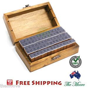 70Pcs-Vintage-Wooden-Upper-Lower-Case-Alphabet-Letters-Rubber-Stamps-Box-AU