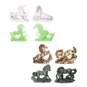 Home and Office Table Decor Set of 8 Multi Color Resin Horse Statue