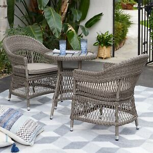 Fantastic Details About 3 Piece Tan Resin Wicker Open Weave Patio Bistro Set Outdoor Home Furniture Lamtechconsult Wood Chair Design Ideas Lamtechconsultcom