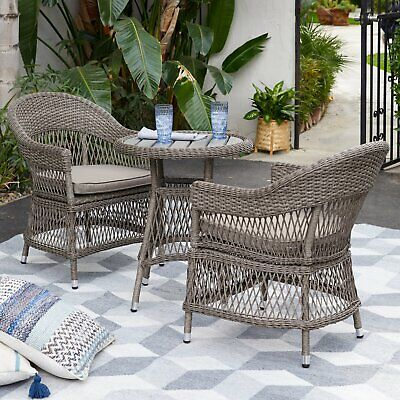 Prime 3 Piece Tan Resin Wicker Open Weave Patio Bistro Set Outdoor Home Furniture Ebay Onthecornerstone Fun Painted Chair Ideas Images Onthecornerstoneorg