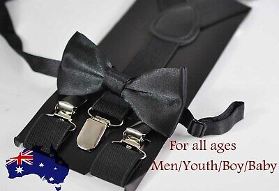 Suspenders Braces for All Ages Dark Emerald Green Hunter Green Cotton Bow Tie
