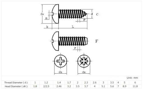 100Pcs M1.4 M1.7 M2 M3 Ni-Plated Round Pan Head Phillips Self Tapping Screws