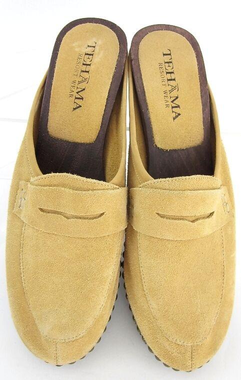 NEW Tehama Wooden Sole Suede Moc Toe Penny Slide Camel Sz Leather Sz Camel 9 a46946