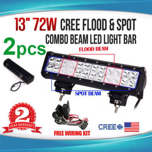 2x 13 INCH 72W CREE LED SPOT FLOOD COMBO WORK LIGHT BAR FOR OFFROAD 4WD 12V 24V