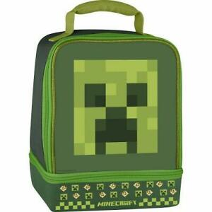 Minecraft Creeper Dual Compartment Thermos Insulated Lunch Box Kit Bag Tote