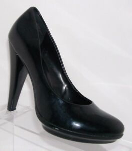 Nine-West-039-Melissa-039-black-patent-almond-toe-platform-pumps-heels-womens-shoes-7M