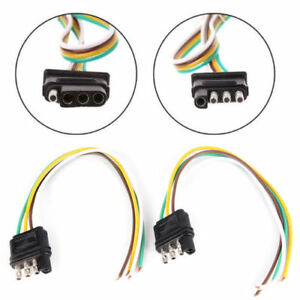Details about 2ft Trailer Light Wiring Harness Extension 4-Pin Plug on