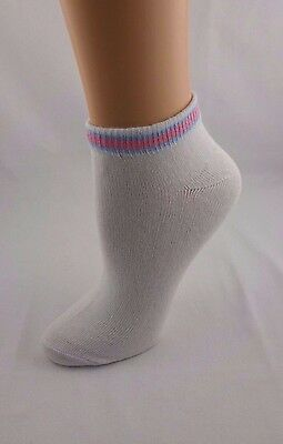 White ankle socks 3 pairs pink blue striped cuffs