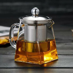 Clear Loose Leaf Tea Heat-resistant Glass Teapot With Infuser Stainless Steel !!