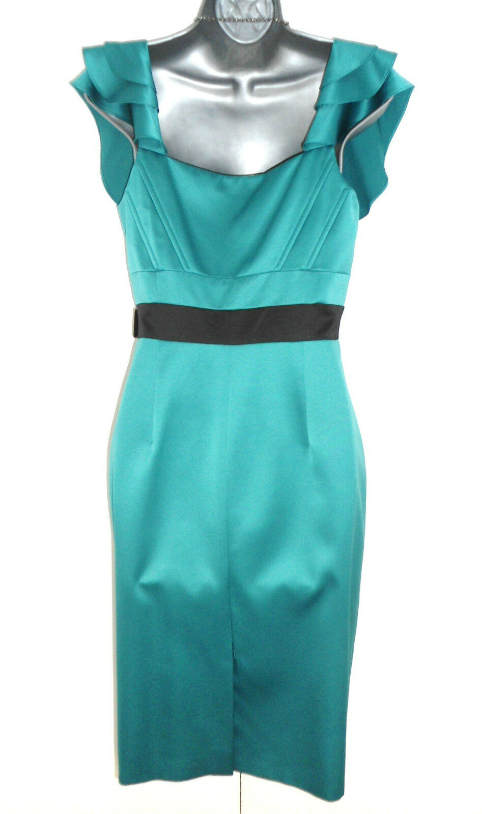 Stunning Karen Millen Teal Satin Jewelled Embellished Pencil Pencil Pencil Evening Dress 12 ea4737
