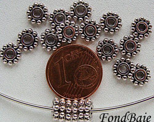 20 perles rondes rondelles intercalaires Marguerite métal Argenté 6,5mm MA230
